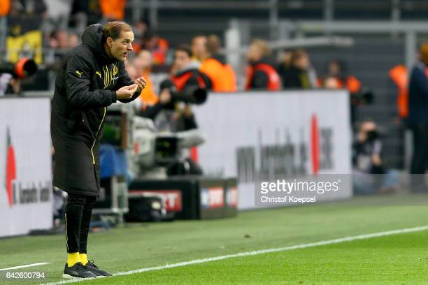 Head coach Thomas Tuchel of Dortmund issues instructions during the Bundesliga match between Borussia Dortmund and VfL Wolfsburg at Signal Iduna Park...