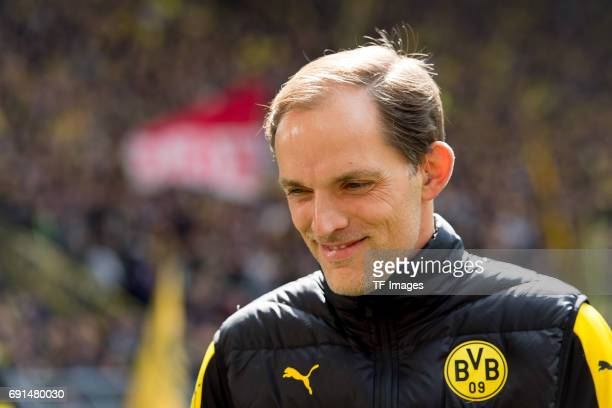 Head coach Thomas Tuchel of Dortmund laughs during the Bundesliga match between Borussia Dortmund and FC Koeln at Signal Iduna Park on April 29 2017...