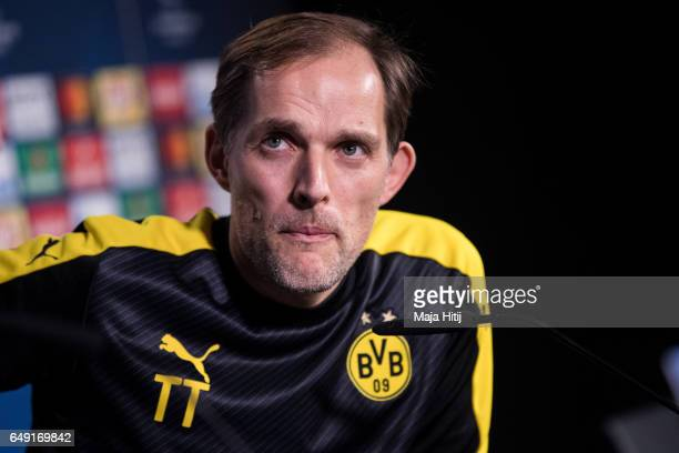 Head coach Thomas Tuchel of Dortmund looks on during a press conference prior the UEFA Champions League Round of 16 second leg match between Borussia...