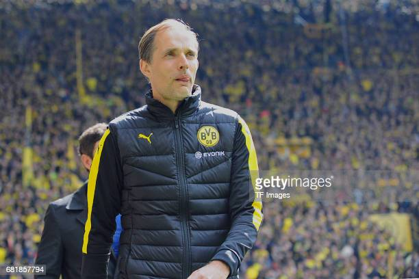 Head coach Thomas Tuchel of Dortmund looks on during the Bundesliga match between Borussia Dortmund and FC Koeln at Signal Iduna Park on April 29...