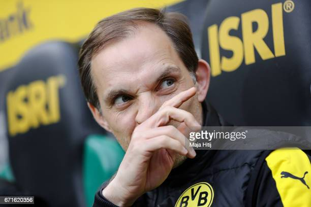 Head coach Thomas Tuchel of Dortmund prior the Bundesliga match between Borussia Moenchengladbach and Borussia Dortmund at BorussiaPark on April 22...
