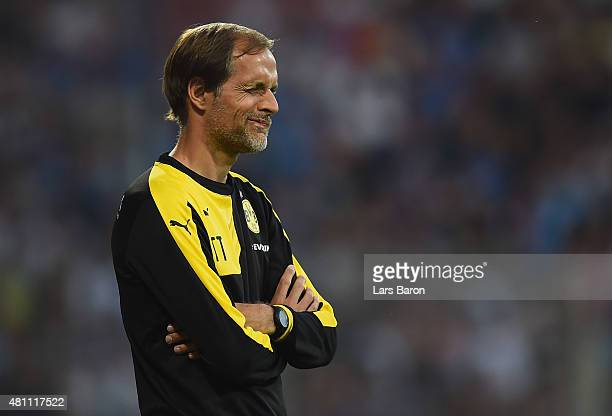 Head coach Thomas Tuchel of Dortmund reacts during a preseason friendly match between VfL Bochum and Borussia Dortmund at Rewirpower Stadium on July...