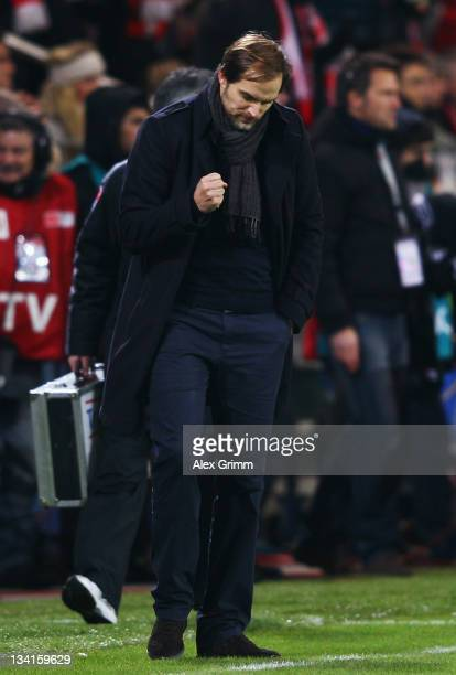 Head coach Thomas Tuchel of Mainz celebrates after the Bundesliga match between FSV Mainz 05 and FC Bayern Muenchen at Coface Arena on November 27...