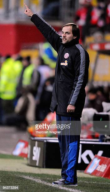 Head coach Thomas Tuchel of Mainz gestures during the Bundesliga match between FSV Mainz 05 and VFB Stuttgart at Bruchweg Stadium on December 13 2009...
