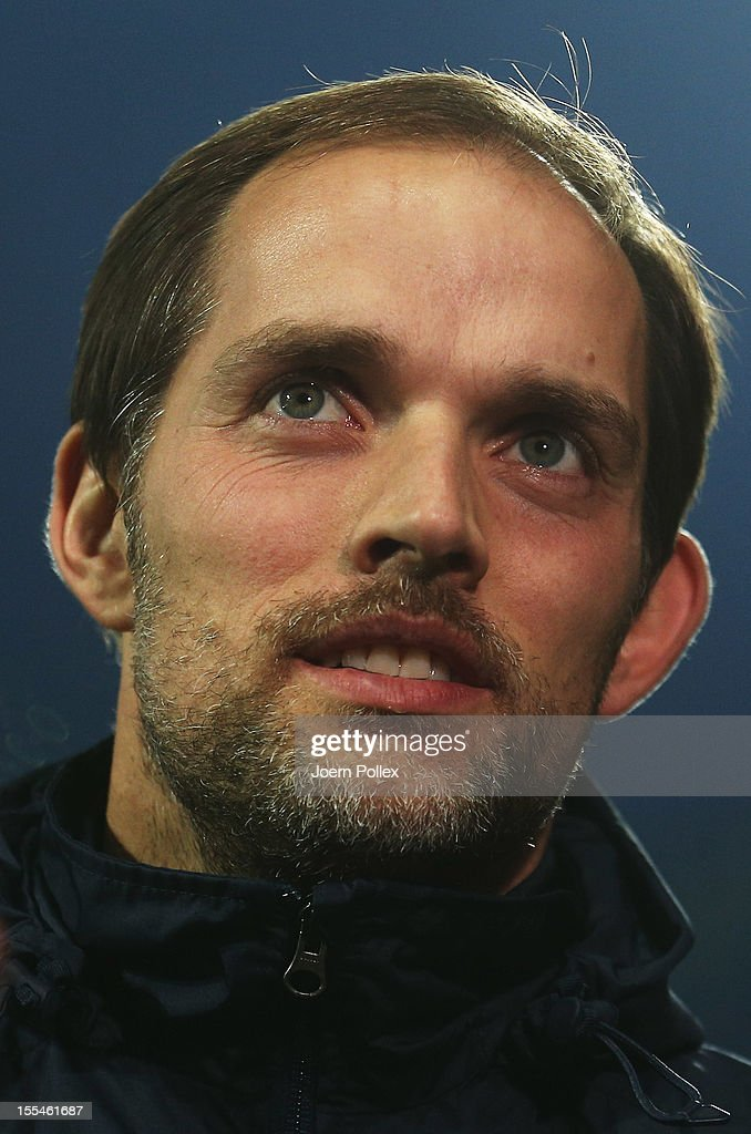 Head coach Thomas Tuchel of Mainz looks on prior to the Bundesliga match between SV Werder Bremen and 1. FSV Mainz 05 at Weser Stadium on November 4, 2012 in Bremen, Germany.