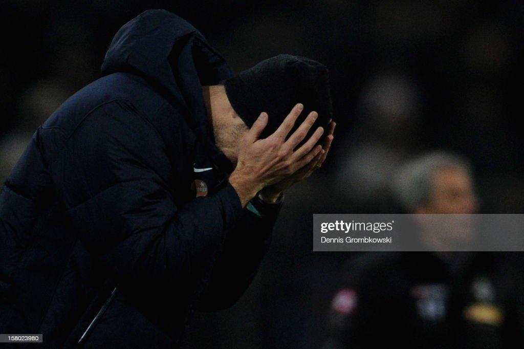 Head coach Thomas Tuchel of Mainz reacts during the Bundesliga match between VfL Borussia Moenchengladbach and 1. FSV Mainz 05 at Borussia Park Stadium on December 9, 2012 in Moenchengladbach, Germany.