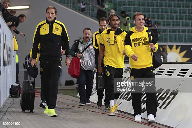 Head coach Thomas Tuchel Patrick Emerick Aubameyang and Mario Goetze of Dortmund arrival to the Bundesliga match between VfL Wolfsburg and Borussia...