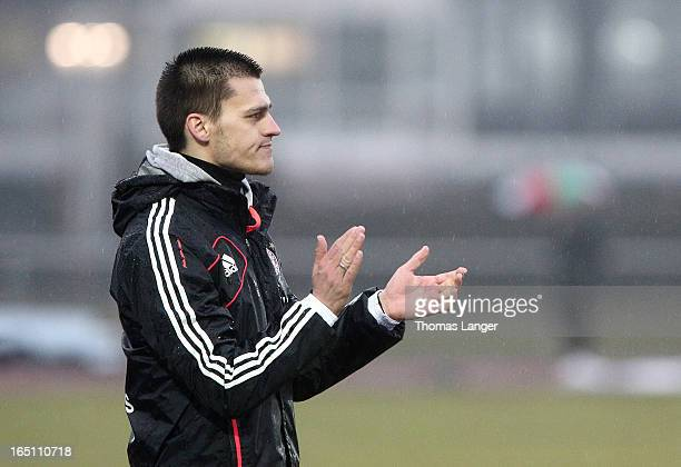 Head coach Thomas Woerle of Munich reacts during the Women's Soccer Bundesliga Match between Bayern Muenchen and 1 FFC Turbine Potsdam on March 30...