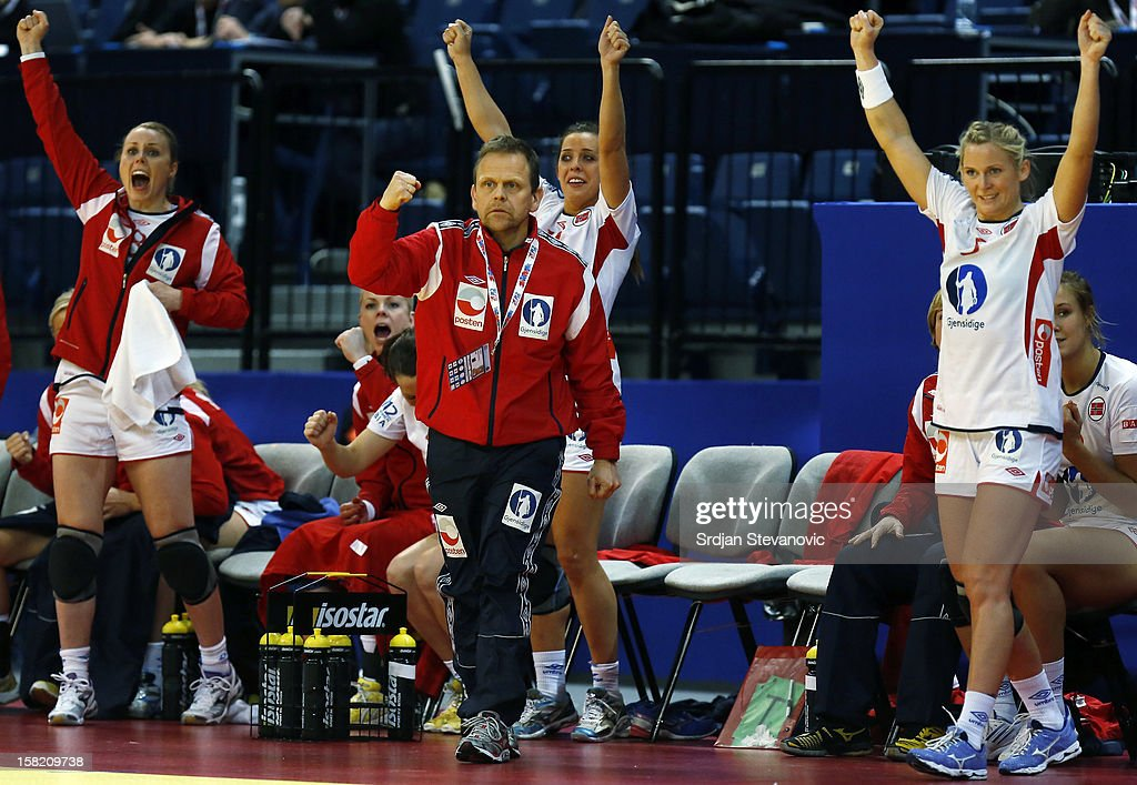 Head coach Thorir Hergeirsson (C) of Norway reacts during the Women's European Handball Championship 2012 Group I main round match between Norway and Sweden at Arena Hall on December 11, 2012 in Belgrade, Serbia.