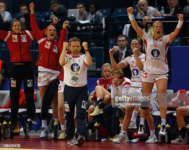 Head coach Thorir Hergeirsson of Norway reacts during the Women's European Handball Championship 2012 gold medal match between Norway and Montenegro...