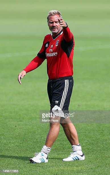 Head coach Thorsten Fink gives intructions during the training session of Hamburger SV on August 2 2012 in Hamburg Germany