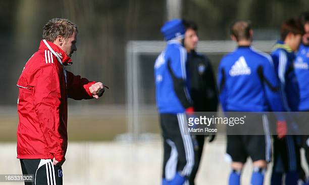 Head coach Thorsten Fink looks on during the training session of Hamburger SV on April 3 2013 in Hamburg Germany
