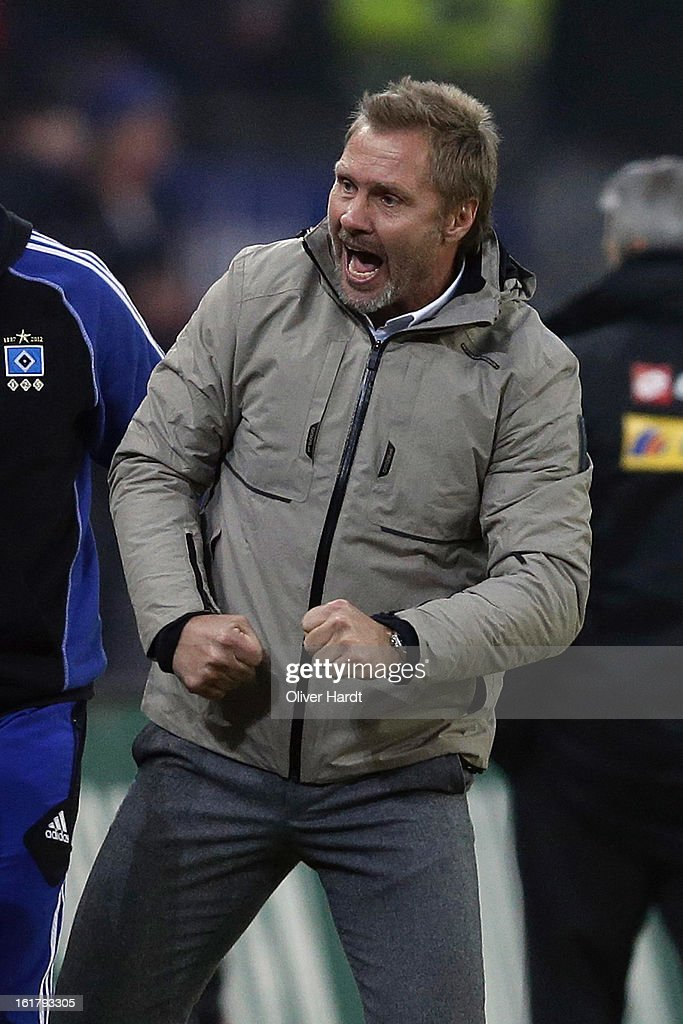 Head coach <a gi-track='captionPersonalityLinkClicked' href=/galleries/search?phrase=Thorsten+Fink&family=editorial&specificpeople=2381735 ng-click='$event.stopPropagation()'>Thorsten Fink</a> of Hamburg celebrates after the Bundesliga match between Hamburger SV and Borussia Moenchengladbach at Imtech Arena on February 16, 2013 in Hamburg, Germany.
