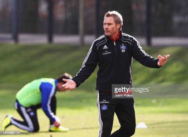 Head coach Thorsten Fink of Hamburg gestures during a Hamburger SV training session on March 19 2012 in Hamburg Germany
