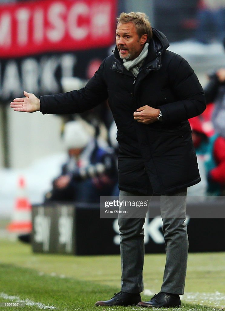 Head coach Thorsten Fink of Hamburg gestures during the Bundesliga match between 1. FC Nuernberg and Hamburger SV at Easy Credit Stadium on January 20, 2013 in Nuremberg, Germany.