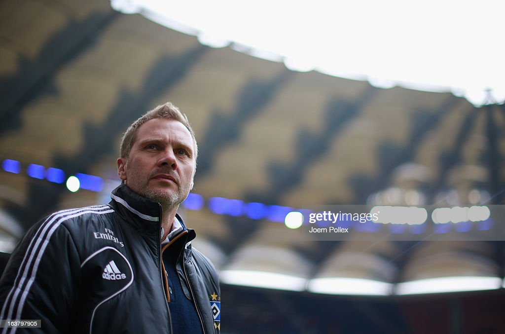 Head coach <a gi-track='captionPersonalityLinkClicked' href=/galleries/search?phrase=Thorsten+Fink&family=editorial&specificpeople=2381735 ng-click='$event.stopPropagation()'>Thorsten Fink</a> of Hamburg is seen prior to the Bundesliga match between Hamburger SV and FC Augsburg at Imtech Arena on March 16, 2013 in Hamburg, Germany.