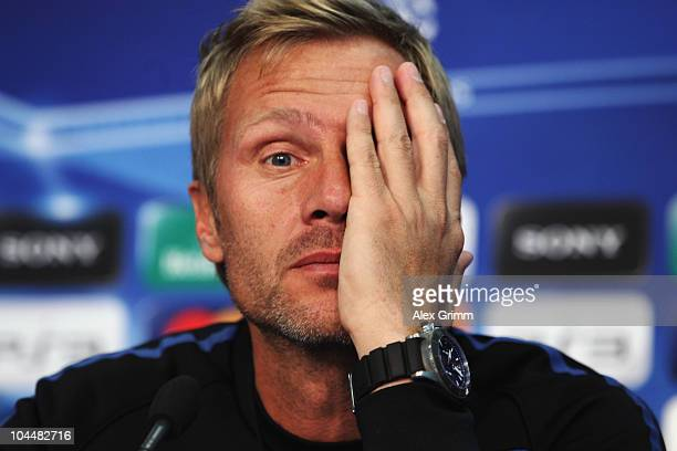 Head coach Thorsten Fink pauses during the press conference of FC Basel at the St Jakob Park stadium ahead of their Champions League first round...