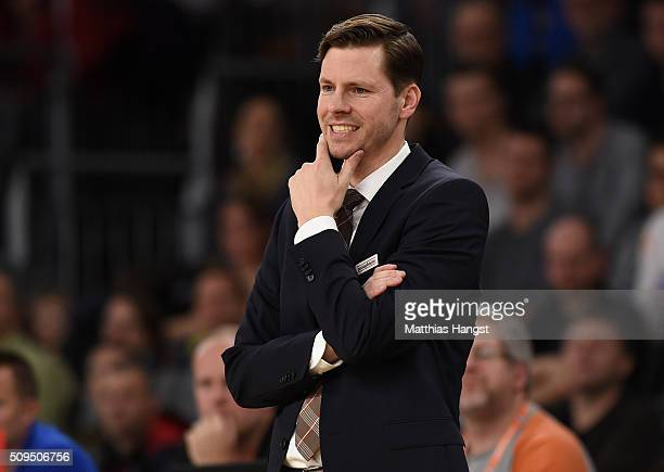 Head coach Thorsten Leibenath of Ulm gestures during the Eurocup Basketball match between ratiopharm Ulm and FC Bayern Muenchen at ratiopharm Arena...