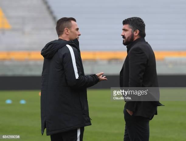 Head coach Tianjin Quanjian Fabio Cannavaro and head coach AC Pisa Gennaro Gattuso chat prior to the friendly match between AC Pisa and Tianjin...