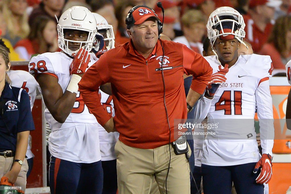 Head coach Tim DeRuyter of the Fresno State Bulldogs watches action against the Nebraska Cornhuskers at Memorial Stadium on September 3, 2016 in Lincoln, Nebraska. Nebraska defeated Fresno State 43-10.