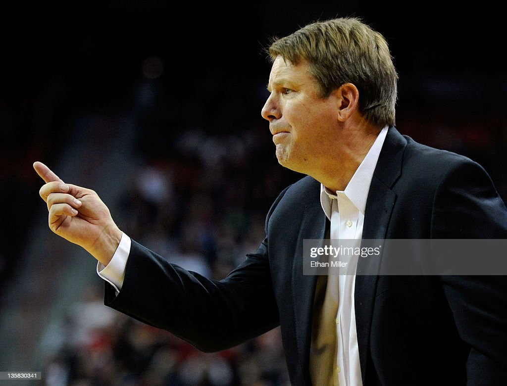 Head coach Tim Floyd of the UTEP Miners gestures to his players during their game against the UNLV Rebels at the Thomas Mack Center December 14 2011...