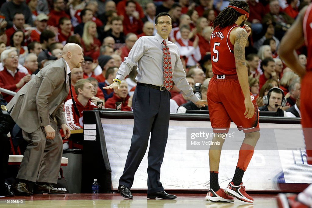 Head Coach Tim Miles of the Nebraska Cornhuskers call out the play from the sidelines during the first half against Wisconsin Badgers at Kohl Center on January 15, 2015 in Madison, Wisconsin.