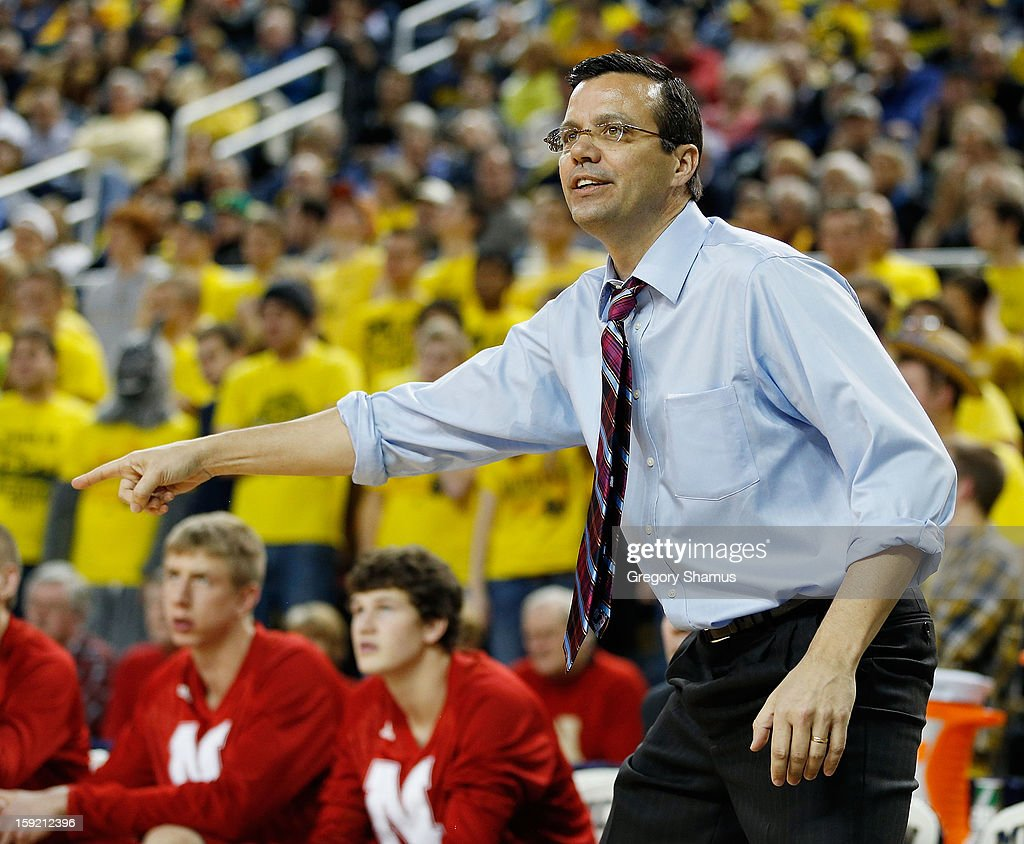 Head coach Tim Miles of the Nebraska Cornhuskers directs his team from the bench during the second half while playing the Michigan Wolverines at Crisler Center on January 9, 2013 in Ann Arbor, Michigan. Michigan won the game 62-47.