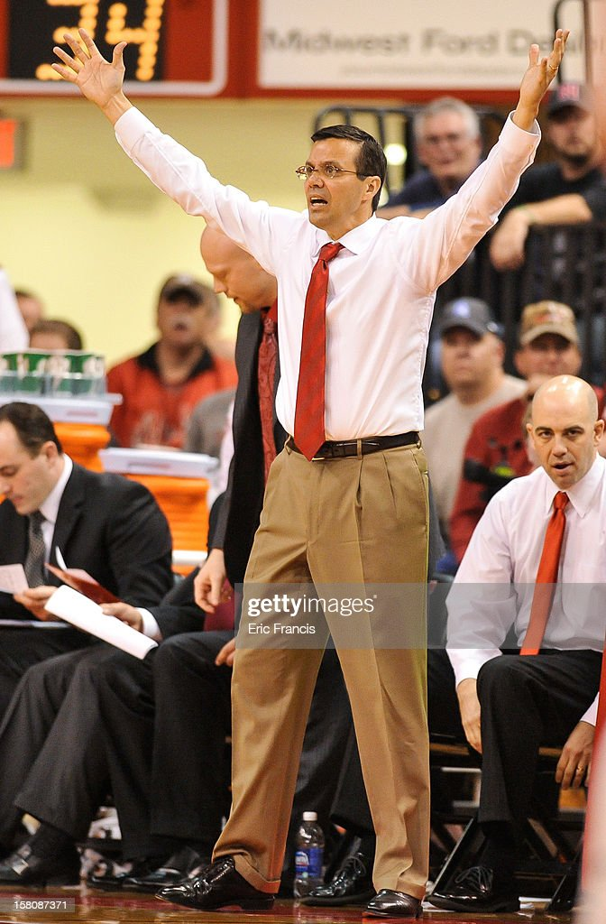 Head coach Tim Miles of the Nebraska Cornhuskers expresses his frustration during their game against the Creighton Bluejays at the Devaney Center on December 6, 2012 in Lincoln, Nebraska. Creighton defeated Nebraska 64-42.