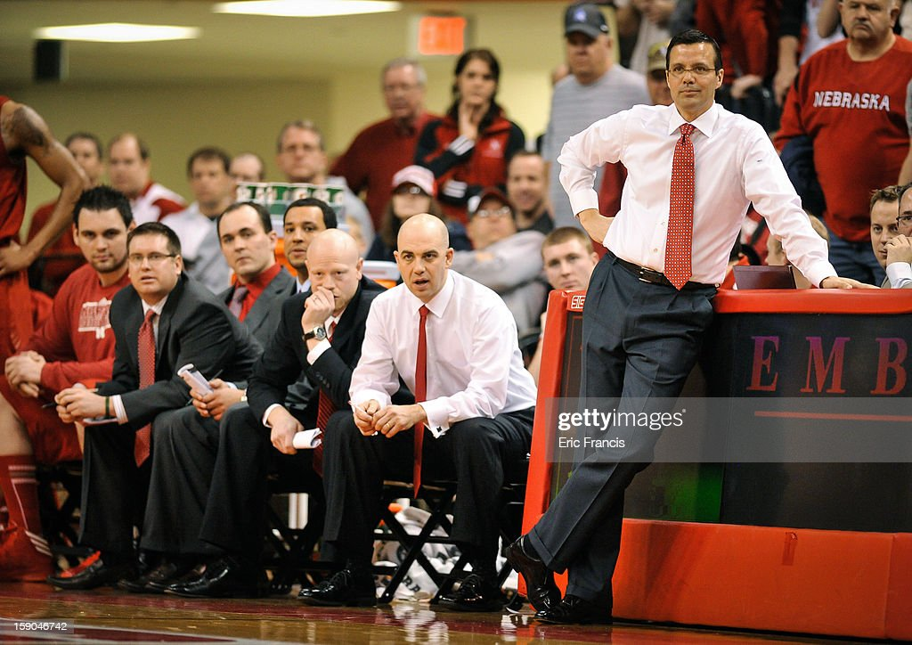 Head coach Tim Miles of the Nebraska Cornhuskers relaxes during their game against the Wisconsin Badgers at the Devaney Center on January 6, 2013 in Lincoln, Nebraska. Wisconsin defeated Nebraska 47-41.