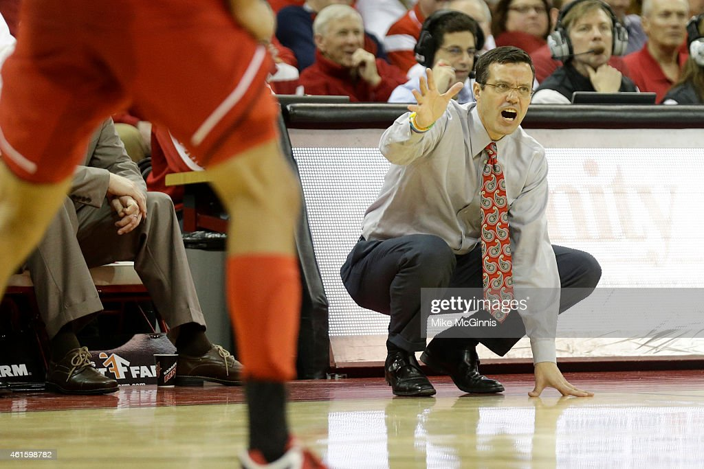 Head Coach Tim Miles of the Nebraska Cornhuskers yells from the sidelines during the first half against Wisconsin Badgers at Kohl Center on January 15, 2015 in Madison, Wisconsin.