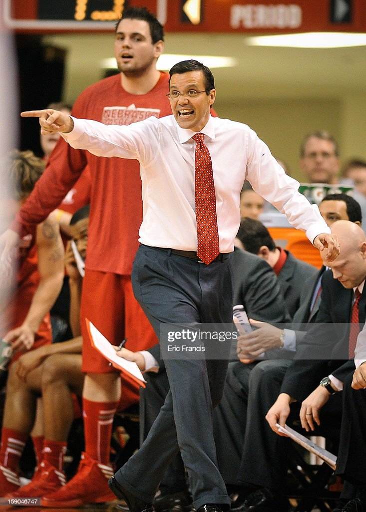 Head coach Tim Miles of the Nebraska Cornhuskers yells instruction to his team during their game against the Wisconsin Badgers at the Devaney Center on January 6, 2013 in Lincoln, Nebraska. Wisconsin defeated Nebraska 47-41.