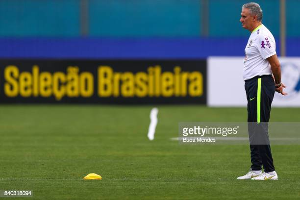 Head coach Tite is seen during a training session at the Gremio team training centre on August 28 2017 in Porto Alegre Brazil ahead of their 2018...