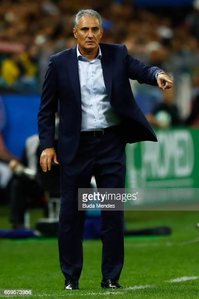 Head coach Tite of Brazil gestures during a match between Brazil and Paraguay as part of 2018 FIFA World Cup Russia Qualifier at Arena Corinthians on...