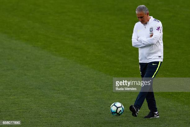 Head coach Tite of Brazil in action during a training session at Arena Corinthians on March 26 2017 in Sao Paulo Brazil
