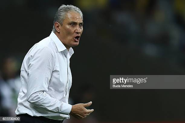 Head coach Tite of Brazil reacts during a match between Brazil and Argentina as part of 2018 FIFA World Cup Russia Qualifier at Mineirao stadium on...