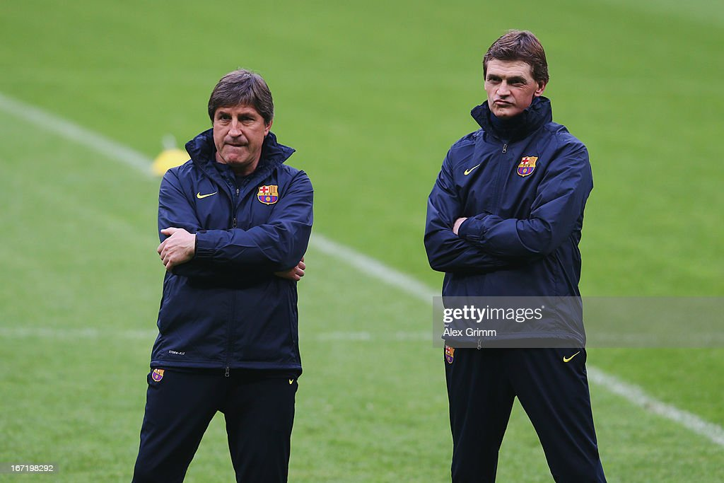 Head coach Tito Vilanova (R) and assistant coach Jordi Roura attend a FC Barcelona training session ahead of their UEFA Champions League Semi Final first leg match against FC Bayern Muenchen on April 22, 2013 in Munich, Germany.
