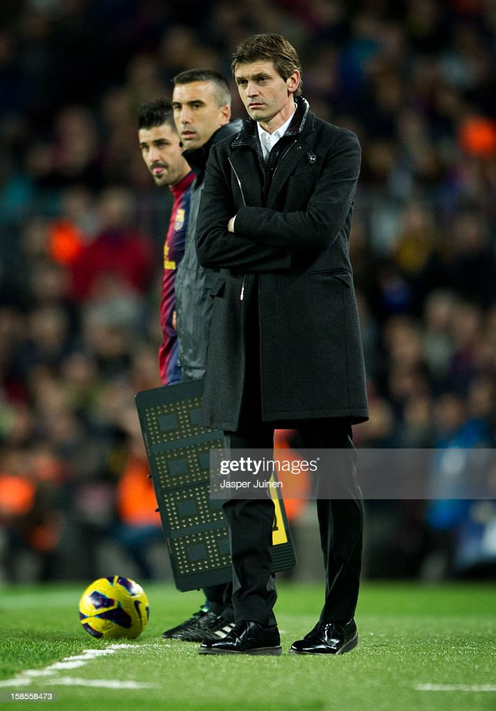 Head coach <a gi-track='captionPersonalityLinkClicked' href=/galleries/search?phrase=Tito+Vilanova&family=editorial&specificpeople=5807709 ng-click='$event.stopPropagation()'>Tito Vilanova</a> of Barcelona during the la Liga match between FC Barcelona and Club Atletico de Madrid at the Camp Nou stadium on December 16, 2012 in Barcelona, Spain.