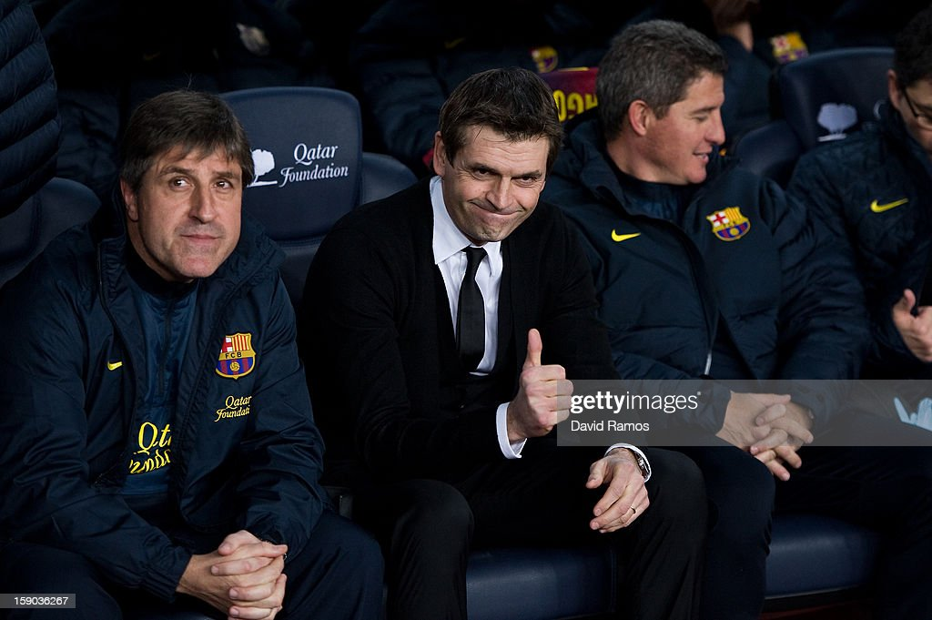 Head coach <a gi-track='captionPersonalityLinkClicked' href=/galleries/search?phrase=Tito+Vilanova&family=editorial&specificpeople=5807709 ng-click='$event.stopPropagation()'>Tito Vilanova</a> of FC Barcelona gives his thumbs up prior to the La Liga match between FC Barcelona and RCD Espanyol at Camp Nou on January 6, 2013 in Barcelona, Spain.
