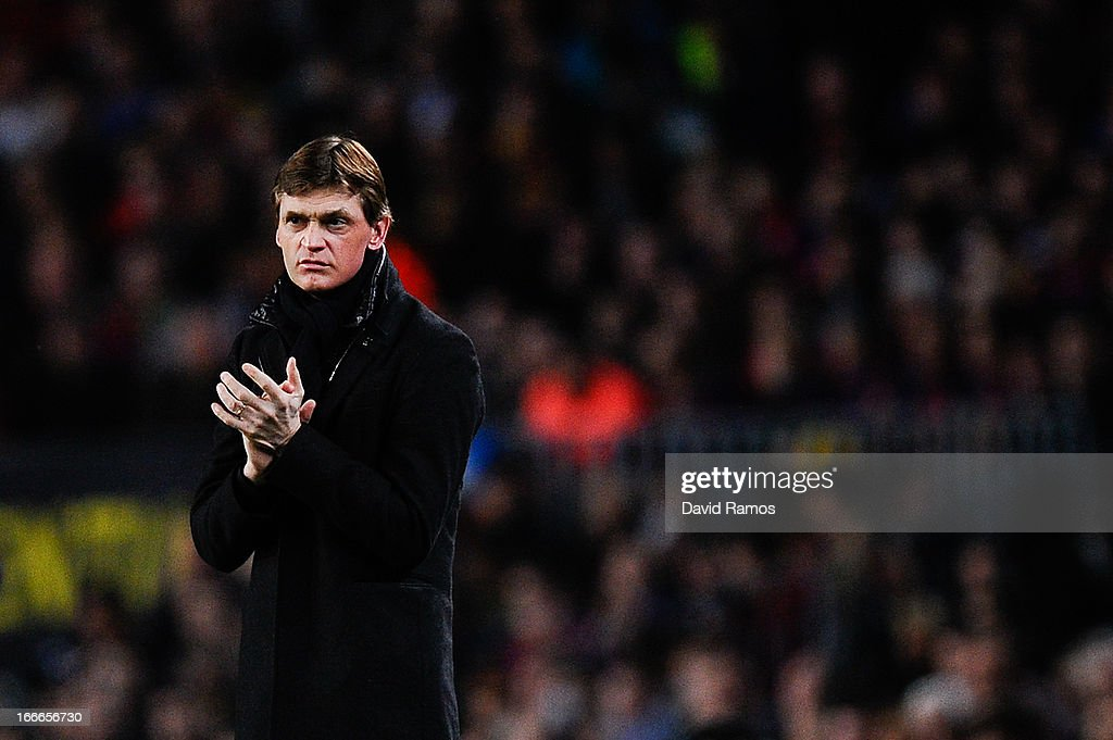 Head coach <a gi-track='captionPersonalityLinkClicked' href=/galleries/search?phrase=Tito+Vilanova&family=editorial&specificpeople=5807709 ng-click='$event.stopPropagation()'>Tito Vilanova</a> of FC Barcelona looks on during the UEFA Champions League quarter-final second leg match between Barcelona and Paris St Germain at Nou Camp on April 10, 2013 in Barcelona, Spain.