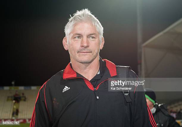 Head Coach Todd Blackadder of the Crusaders looks on following the round 16 Super Rugby match between the Crusaders and the Rebels at AMI Stadium on...