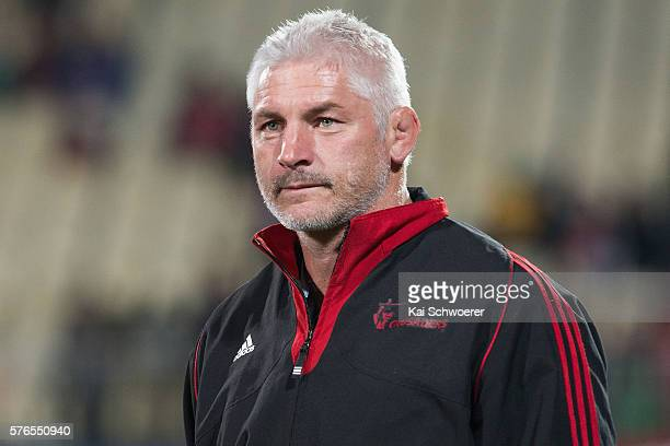 Head Coach Todd Blackadder of the Crusaders looks on following the round 17 Super Rugby match between the Crusaders and the Hurricanes at AMI Stadium...