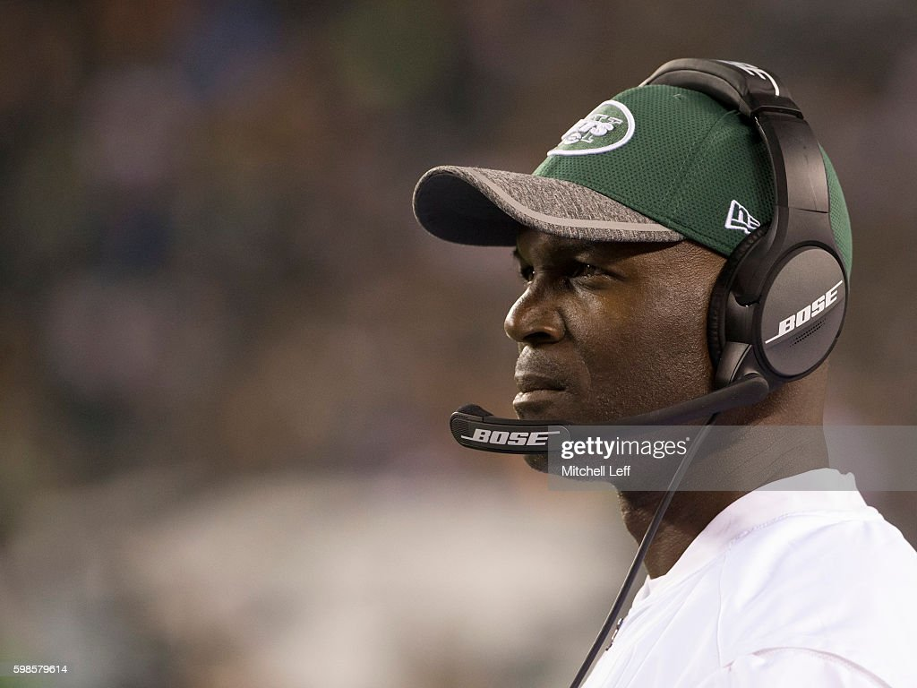 Head coach Todd Bowles of the New York Jets looks on during the game against the Philadelphia Eagles at Lincoln Financial Field on September 1, 2016 in Philadelphia, Pennsylvania. The Eagles defeated the Jets 14-6.