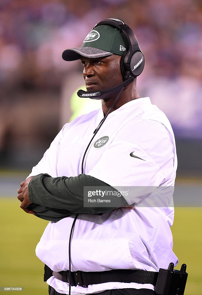 Head coach Todd Bowles of the New York Jets looks on from the sidelines against the New York Giants during the third quarter at MetLife Stadium on August 27, 2016 in East Rutherford, New Jersey. The Giants defeated the Jets 21-20.