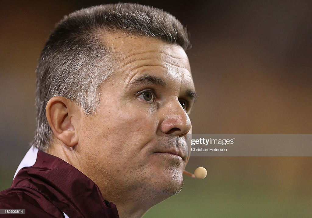 Head coach Todd Graham of the Arizona State Sun Devils looks on during the college football game against the USC Trojans at Sun Devil Stadium on September 28, 2013 in Tempe, Arizona. The Sun Devils defeated the Trojans 62-41.
