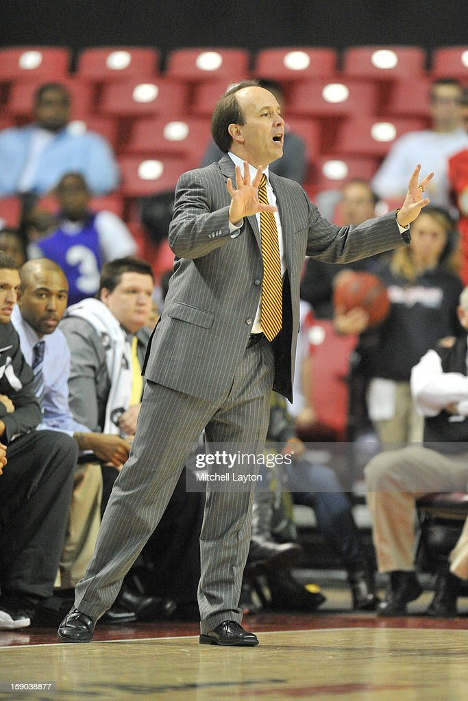 Head coach Todd Howard of the IUPUI Jaguars calls out a play during a college basketball game against the Maryland Terrapins on January 1, 2013 at the Comcast Center in College Park, Maryland. The Terrapins won 81-63.