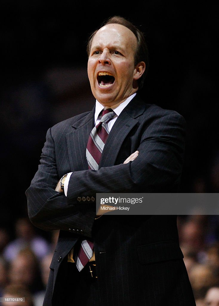Head coach Todd Howard of the IUPUI Jaguars yells at his team against the Butler Bulldogs at Hinkle Fieldhouse on December 5, 2012 in Indianapolis, Indiana. Butler defeated IUPUI