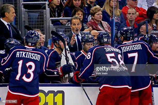 Head Coach Todd John Tortorella of the Columbus Blue Jackets talks to his players during a timeout in the game against the Arizona Coyotes on...