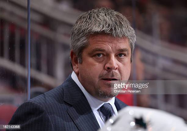 Head coach Todd McLellan #hc of the San Jose Sharks during the preseason NHL game against the Phoenix Coyotes at Jobingcom Arena on September 27 2013...