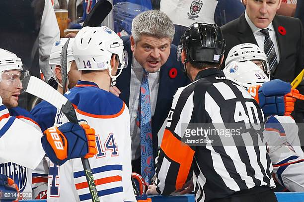 Head coach Todd McLellan of the Edmonton Oilers argues a no goal call in the second period against the New York Rangers at Madison Square Garden on...