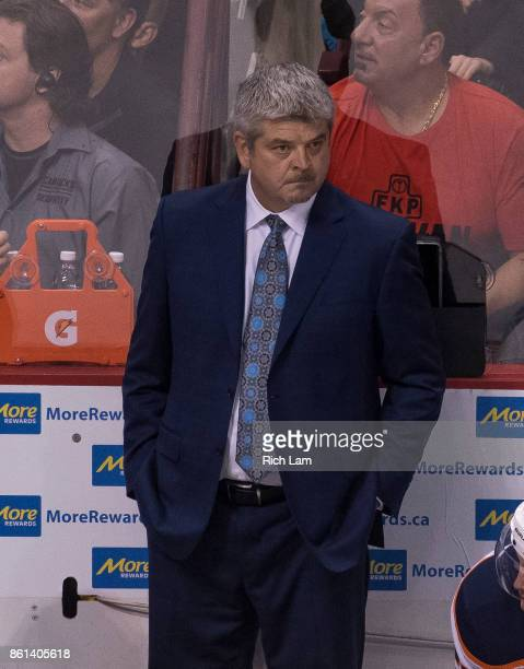 Head Coach Todd McLellan of the Edmonton Oilers during NHL action against the Vancouver Canucks on October 7 2017 at Rogers Arena in Vancouver...